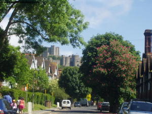 The castle ahead, near Connaught Road